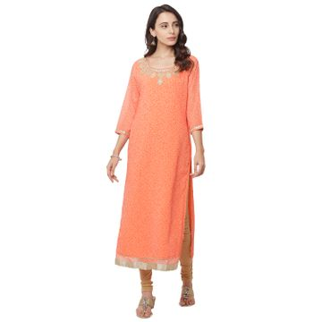 globus | Globus Orange Embroidered Kurta