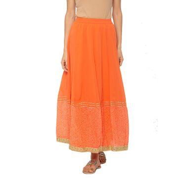 globus   Globus Orange Printed Skirt