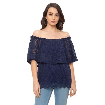 globus | Globus Navy Blue Self Design Top