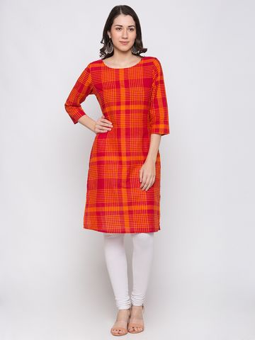 globus | Globus Orange Checked Kurta