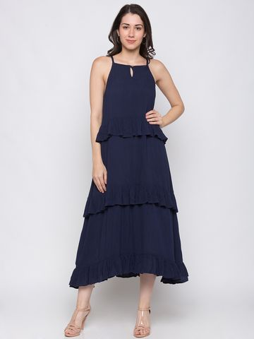 globus | Globus Navy Blue Solid Dress