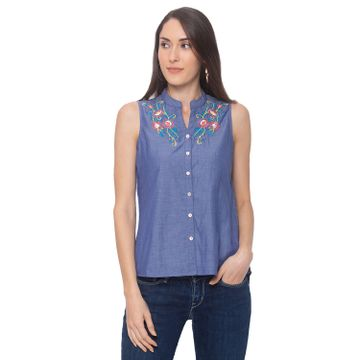 globus | Globus Blue Embroidered Shirt