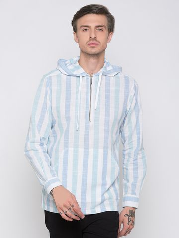 globus | Globus White & Blue Striped Shirt