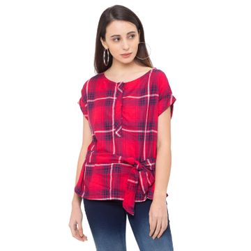 globus | Globus Red Checked Top