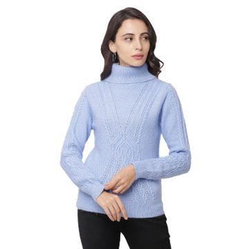 globus | Globus Blue  High Neck Self Design Sweatshirt
