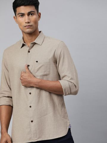 The Bear House | Men's Beige Solid Brushed Casual Shirt