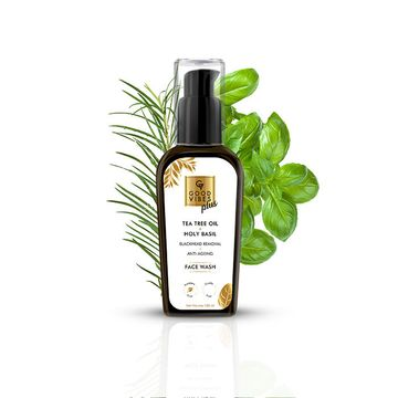 Good Vibes | Good Vibes Plus Blackhead Removal + Anti-Ageing Face Wash - Tea Tree Oil + Holy Basil (100 ml)