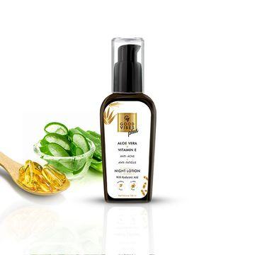 Good Vibes | Good Vibes Plus Anti - Acne + Anti - Fatigue Night Face Lotion - Aloe Vera + Vitamin E (100 ml)