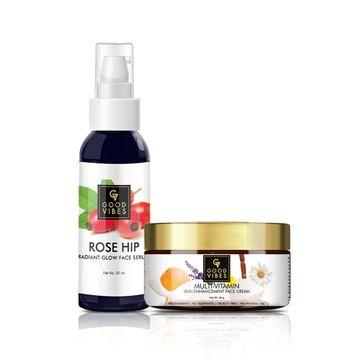 Good Vibes | Good Vibes Rose Hip Radiant Glow Face Serum (50 ml) with Free Skin Enhancement Face Cream - Multi Vitamin (50 g)