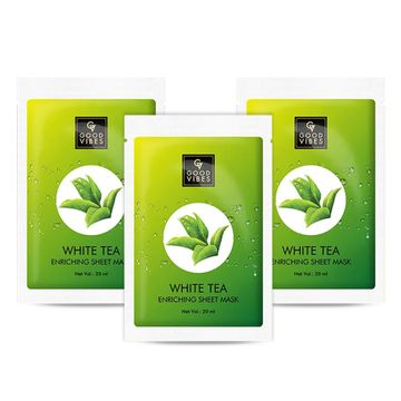 Good Vibes | Good Vibes Enriching Sheet Mask - White Tea (20 ml) - (Pack of 3)