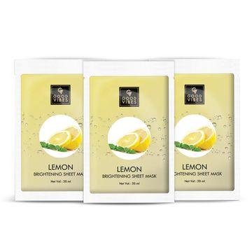 Good Vibes | Good Vibes Brightening Sheet Mask - Lemon (20 ml) - (Pack of 3)
