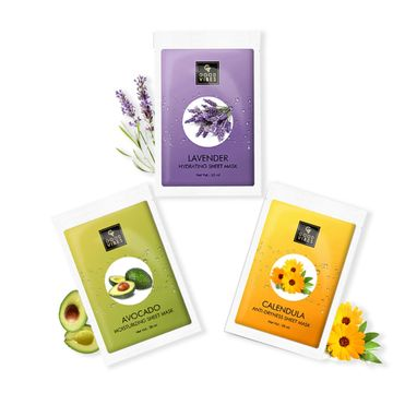 Good Vibes | Good Vibes Sheet Masks for Dry Skin Combo (Lavender + Avocado + Calendula)