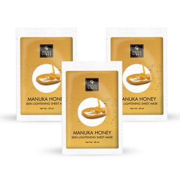 Good Vibes | Good Vibes Skin Lightening Sheet Mask - Manuka Honey (20 ml) - (Pack of 3)
