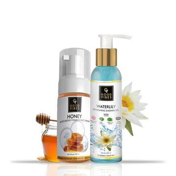 Good Vibes | Good Vibes Bath Combo (Honey Face Wash, 150ml + Waterlily Shower Gel, 200ml)
