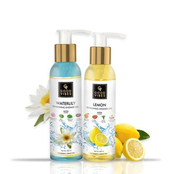 Good Vibes | Good Vibes Refreshing Shower Gel Combo (Lemon, 200ml + Waterlily, 200ml)