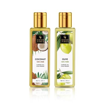 Good Vibes | Good Vibes 100% Pure Cold Pressed Carrier Oil Combo (Set of 2) - Coconut and Olive - For Hair & Skin