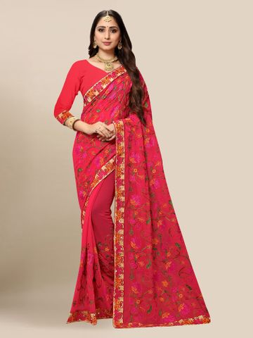 SATIMA | Women Carmine Pink Georgette Embroidered Party Saree