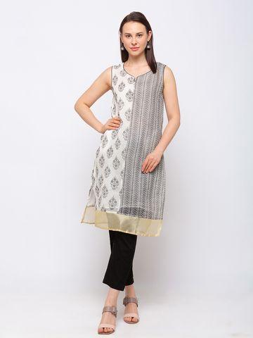 Ethnicity | Ethnicity Chanderi Cotton Straight Women Off White Kurta