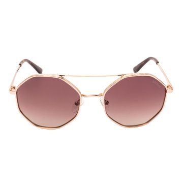 GUESS | Guess Gold Frame With Brown Lens Round Shape Women Sunglass
