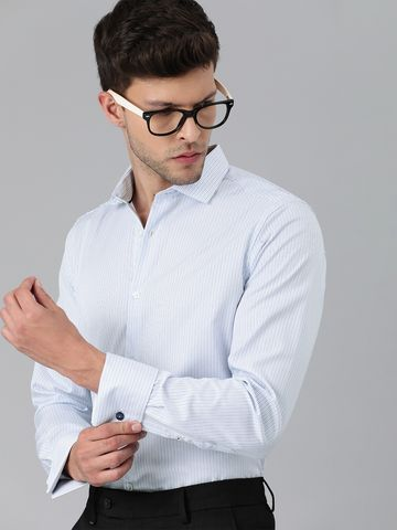 The Bear House | THE BEAR HOUSE Men White  Slim Striped Double Cuff Formal Shirt