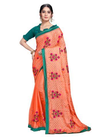 SATIMA   Designer Orange Chiffon Self-Design Embroidered Saree