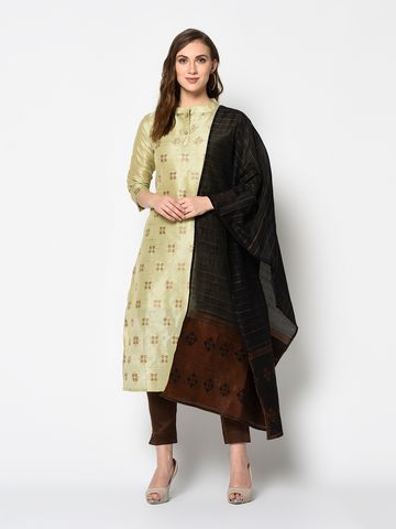 SATIMA   Women's Green Solid Cotton Unstitched Salwar Suit