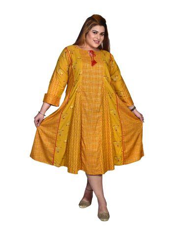 XMEX   Xmex Plus size Yellow cut & sew styled cotton kurti for women