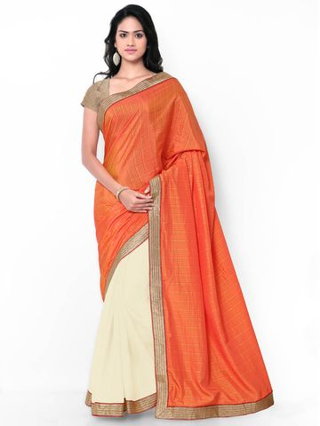 SATIMA | Satima & CreamSemi GeorgettePlain Saree