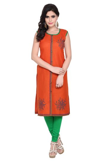 Havva Fashion | Hand Block Printed Self Design Kurti