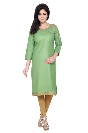 Havva Fashion | Kasab Neck Embroidered Kurti