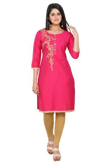Havva Fashion | Silk Full Sleeve Embroidered Kurti