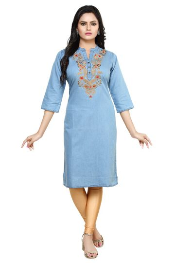 Havva Fashion | Women Embroidred Denim Kurti