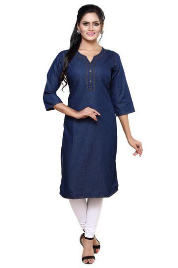 Havva Fashion   Women's Denim Blue Three-Fourth Sleeve Kurti