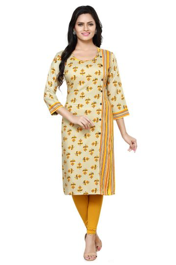 Havva Fashion | Side-Lined Printed Rayon Kurti