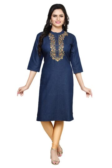 Havva Fashion | Beautiful Embriodered Denim Womens Kurti