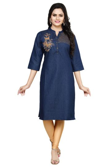 Havva Fashion | Fancy Denim Embroidered Stitched Kurti