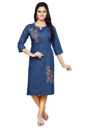 Havva Fashion | Round Neck Koddori Embroidered Denim kurti