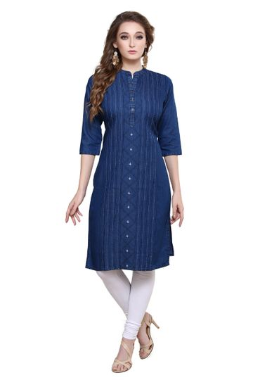 Havva Fashion | Alluring Denim handcrafted  Kurti