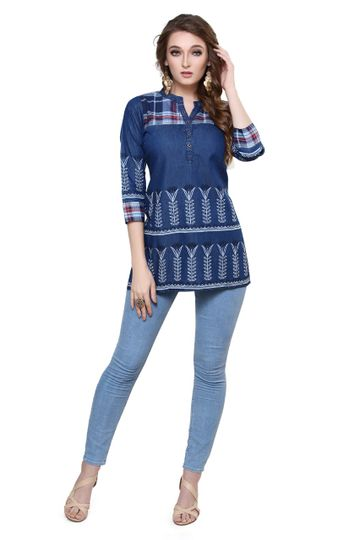 Havva Fashion | Effective Printed Denim Tunic Kurti