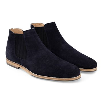 Hats Off Accessories | Hats Off Accessories Navy Suede Leather Chelsea Boots