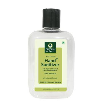 Organic Harvest | Organic Harvest Instant Anti - Bacterial Gel Hand Sanitizer & Hand Cleanser with Organic Glycerin & Tea Tree Essential Oil, 70% Alcohol, Kills 99.9% Virus & Bacteria, 250ml