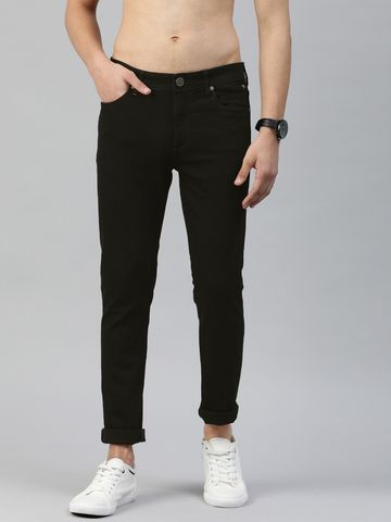 The Bear House | Men Black Tapered Slim Fit Mid-Rise Clean Look Stretchable Jeans