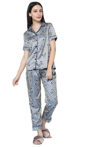 Smarty Pants | Smarty Pants women's silk satin dark grey goffy print night suit