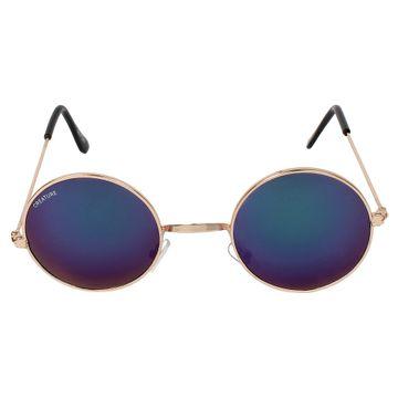 CREATURE | CREATURE Oval Round UV Protected Unisex Sunglasses (Lens-Blue|Frame-Golden)