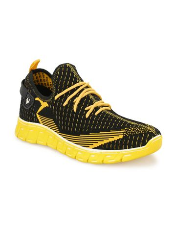 Hirolas | Hirolas® Men's Knitted athleisure Sports Shoes - Black/Yellow