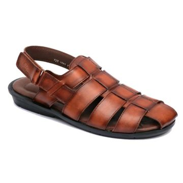 Hitz | Hitz Brown Casual Genuine Leather Sandal For Men with Velcro Fastening