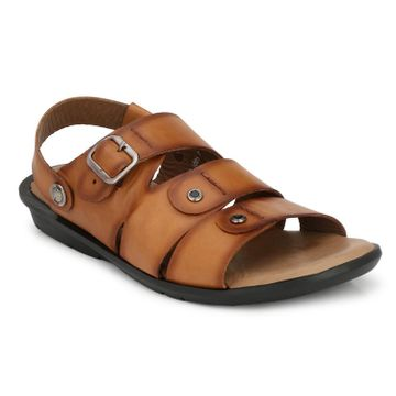 Hitz | Hitz Brown_Genuine Leather Sandal with Buckle Fastening