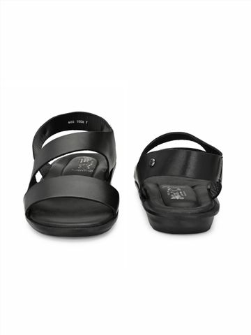 Hitz | Hitz Black Casual Genuine Leather Sandal For Men with Slip-On Fastening