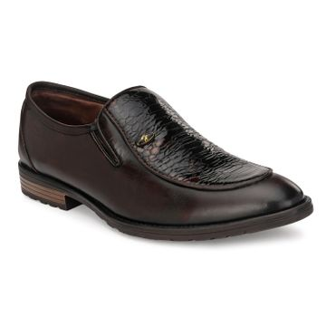 Hitz | Hitz Brown Slip-On Party Leather Shoes For Men