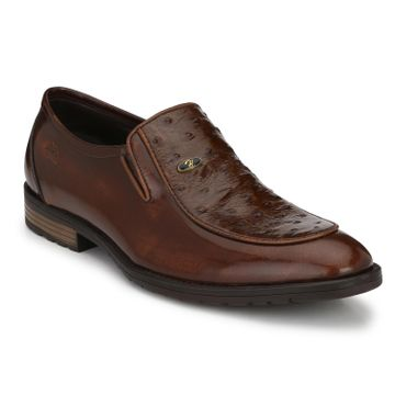 Hitz | Hitz Brown_Genuine Leather Slip-On Party Wear Shoes For Men